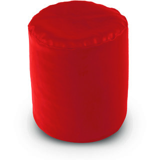 Dolphin Footstool Puffy Bean Bag-Red (Round)-With Bean/Filled