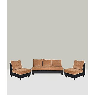 FNU Five Seater Sectional Sofa Set 3-1-1 (Tan Brown and Black)