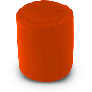 Dolphin Footstool Puffy Bean Bag-Orange (Round)-With Bean/Filled