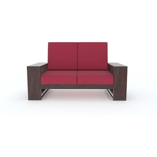 Tezerac -Pompano Wooden Two Seater Sofa - Red