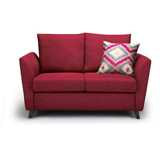 Rio Brilliance Fabric 3+2+1 Seater Red Sofa By Urban Living