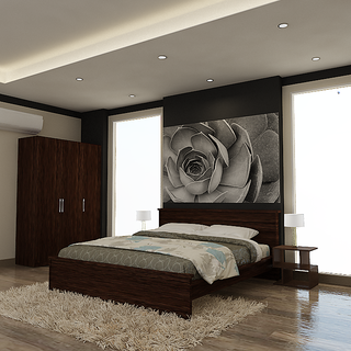 INTEX STYLES - NEWPORT BED  (QUEEN SIZE WENGE COLORED)
