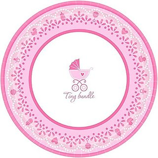 Amscan Sweet Celebrate Baby Girl Round Dinner Plates Sweet (18 Piece), 10 1 2
