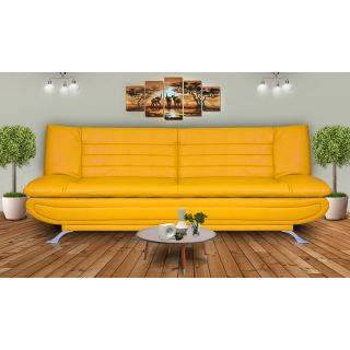 Elite Dolphin 3 Seater Sofa Bed Leatherrete-Yellow