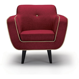 Norway Finesse Fabric 1 Seater Red Sofa By Urban Living