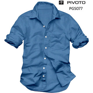 Platinum Presents Regular Fit Casual Half sleeve Blue Plain Cotton Shirt for Men