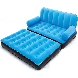Everything Imported Velvet Inflatable Air Portable Sofa Cum Bed Blue