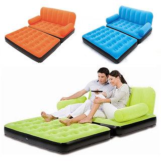 EI Velvet Inflatable Air Portable Sofa Cum Bed (Raandom Color Orange Blue Green)