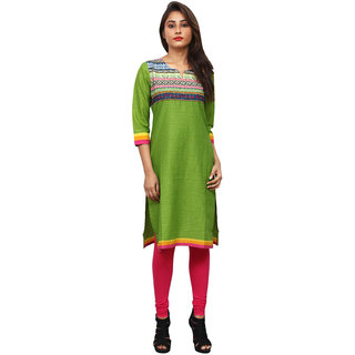 Drunk Tree Printed  Green  Cotton Kurtis .