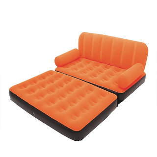 Everything Imported Velvet Inflatable Air Portable Sofa Cum Bed Orange