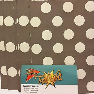 Polka Dot GRAY GREY Food Treat & Favor Paper Bags 24Pk 5X7 - Twilight Parties