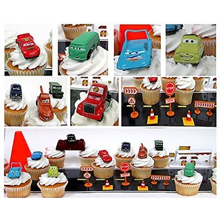 CARS Radiator Springs City Scape 20 Piece Birthday CUPCAkE Topper Set Featuring 12 Random Cars Figures and Radiator Spri