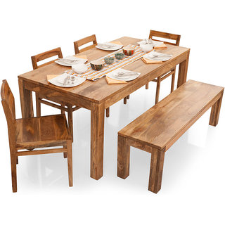 Un Arts Gresham 6 Seater Dining Table Set With Bench