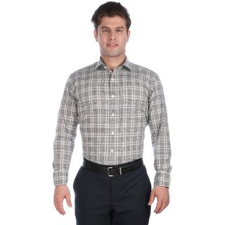 Donear NXG Grey Coloured Checkered Formal Shirt