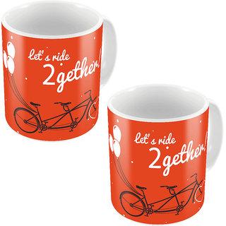 Kaarigar Orange Designer Romantic Printed Coffee Mugs Pair 748
