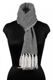 Bunai Black,White Acrylic Self Design Scarves