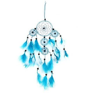 AUSPA Handmade Dream Catcher with Feathers Car Wall Hanging Ornament Decoration(Blue)
