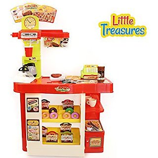Super-Fast Food Shop - mini fast food stall with 48 accessories, designed for 3+ kids B operated with remote control sou
