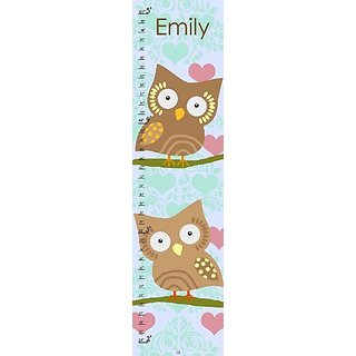 Green Leaf Art Growth Chart, Personalized Owls and Hearts