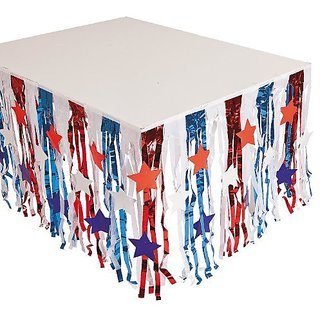 Foil Patriotic Fringe Table Skirt with Star Cutouts - 4th of July Independance Day Party Supply