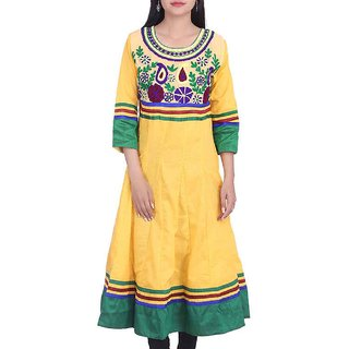 BleuIndus Yellow Cotton Stitched  Kurti