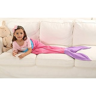 Ibestuff Luxury Mermaid Tail Blanket Soft Polar Fleece Children Sleeping Bags Gift for Kids(Pink)