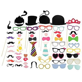 Newdora Photo Booth Props 58 piece DIY Kit for Wedding Party Reunions Birthdays Photobooth Dress-up Accessories Party Fa