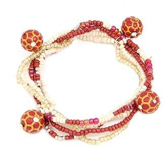 Woap Multicolour Beads With Orange Football Bracelet
