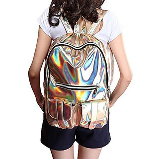 M-BAG Women Fashion Brilliant Hologram Laser Pu Leather Laptop Shoulder Bag School Backpack Gold