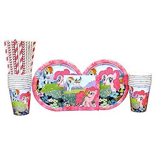 My Little Pony Party Pack for 16 Guests: Straws, Plates, Napkins, and Cups