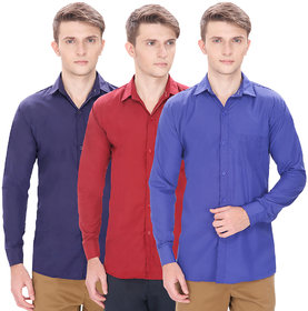 Routeen Men's Multicolor Slim Fit Casual Shirt (Pack of 3 )