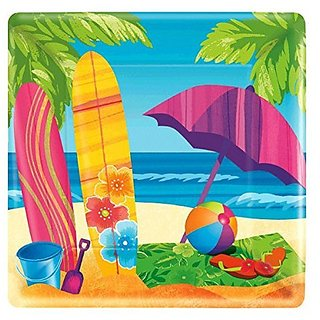 Amscan Hawaiian Summer Beach Surfs Up Paper Disposable Dinner Plates (8 Pack), Multi Color, 10.3 x 10.3