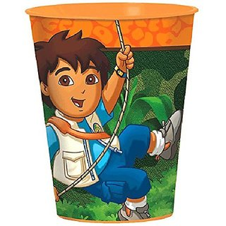 Amscan Fun Diegos Biggest Rescue Plastic Birthday Party Favor Cup, 16 oz, Orange