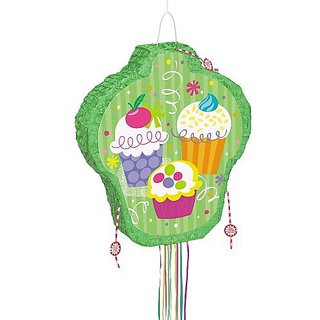 Cupcake Party Pinata Pull String