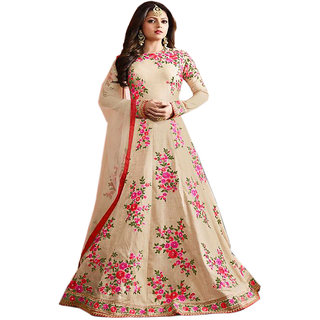 Salwar Soul Cream COLOR LATEST INDIAN DESIGNER ANARKALI SALWAR KAMEEZ DRESS for women  girls Free Size