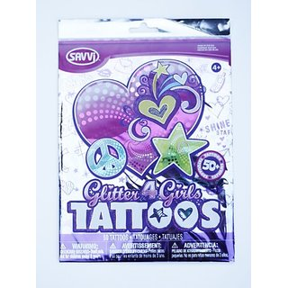 Savvi Set of 50 Temporary Tattoos, Glitter
