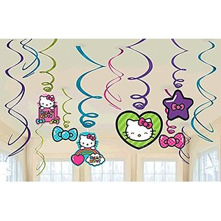 New Hello Kitty Rainbow Party Foil Hanging Swirl Decorations Spiral Ornaments (12 PCS)- Party Supply, Party Decorations