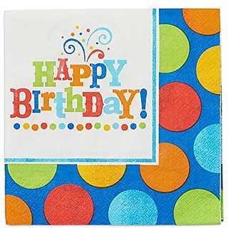 American Greetings 013051299378 16 Count Party Supplies Birthday Fever Fun Lunch Napkins, Royal Blue