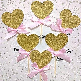 DOOXOO Gold Glitter Heart Pink Bow Cupcake Toppers Heart Toppers Gold Glitter Hearts Wedding Cupcake Toppers Wedding Dec