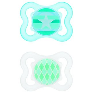 MAM Mini-Air Orthodontic Pacifier, Boy, 0-6 Months, 2-Count