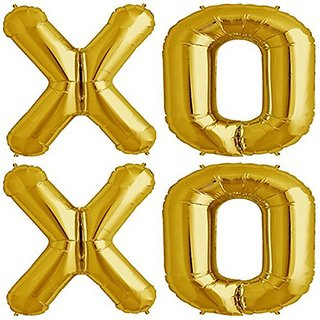 Zebratown XOXO Gold Foil Balloons - Huge 40 Inch Wedding or Engagement Love Balloons