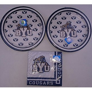BYU Bringham Young Cougars University Party Pack Desert Plates (16) and Napkins (16)