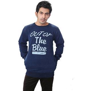 Zeel Blue Fleece Printed Men's Sweatshirt
