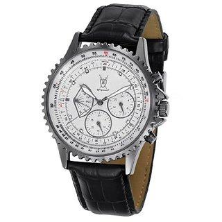 Konigswerk Mens Multifunction Black Leather Watch White Dial Crystal Markers SQ201461G