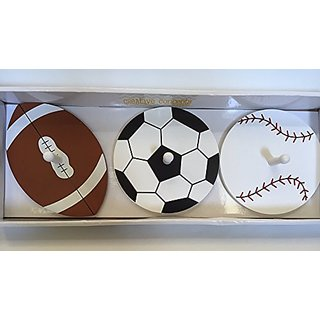 Football, Baseball & Soccer Ball Wooden Wall Pegs by Creative Concepts For Kids