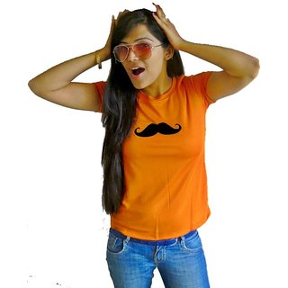 LetsFlaunt Moustache T-shirt T-shirt Girls Orange Dry-Fit-X-Small Nw