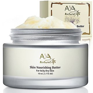 Dry Itchy Skin Body Butter Moisturizer - 100% Natural Premium Face and Body Advanced Care 1.7 oz - African Shea, Cocoa,