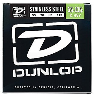 Dunlop DBS55115 Stainless Steel Bass Strings, Extra Heavy, .055-.115, 4 Strings/Set