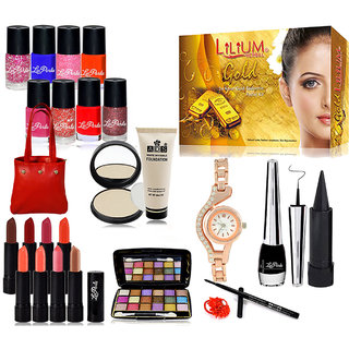 Brand Beauty Sepcial Combo Makeup Sets Pack of 25 With Gold Facial Kit  Wrist Watch