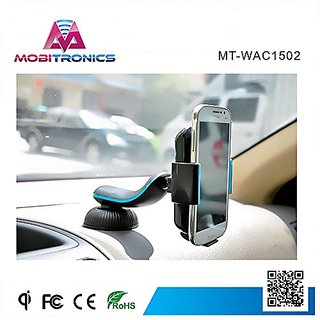 MobiTronics 3-in-1 Qi Wireless Car Charger with Air Vent, Dashboard, and Windshield mounts; Features 360 deg rotation fo